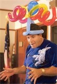 Ed P. wearing balloon hat