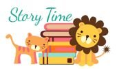 lion and cat with books