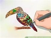 adult coloring a parrot