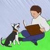 child reading to dog