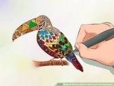 adult coloring a bird