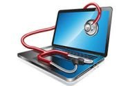 computer with a stethoscope