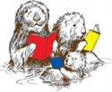 Clip art otter family reading books