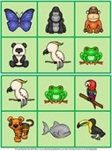 rain forest animal bingo board