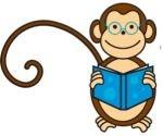 Monkey reading a book