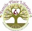 Family Place Libraries Logo, Tree with heart center, parent and child