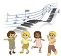 Children dancing, piano and music note background