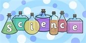 """""""Science"""" spelled out in bottles with different color liquid"""