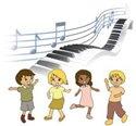 clip art children dancing piano keys