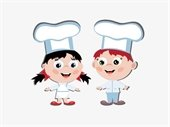 Little kids in chefs hats