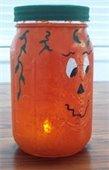 pumpkin painted Mason jar