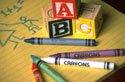 ABC blocks and crayons