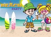 clip art beach with surfboards and boy and girl sharing ice cream cone
