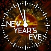 New years eve ball inside clock at 11:57