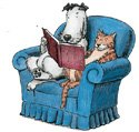 dog and cat in chair reading