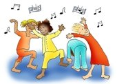 clip art kids in pajamas dancing, music notes overhead
