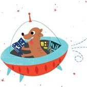 dog in spaceship reading book