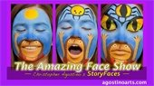 3 painted faces, blue with girl image on mouth and spider on forehead