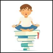 boy in lotus position sitting on pile of books