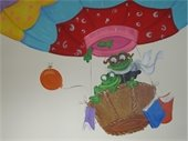 Frogs in hot air balloon library card