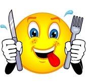 Smiley emoji with utensils
