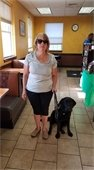 Pam with black lab guide dog Ume