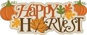 happy harvest pumpkins and leaves