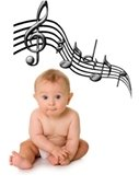 Baby sitting with music notes overhead