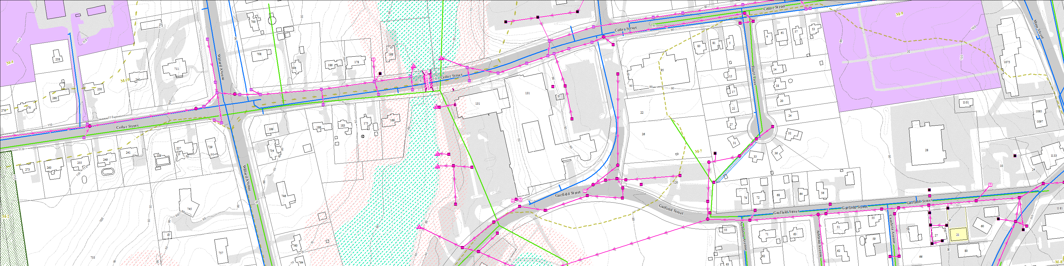 Graphic representation of the topography and subsurface infrastructure around Town Hall