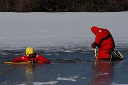 Fire Department - Staff, Ice Rescue Drill at Mill Pond