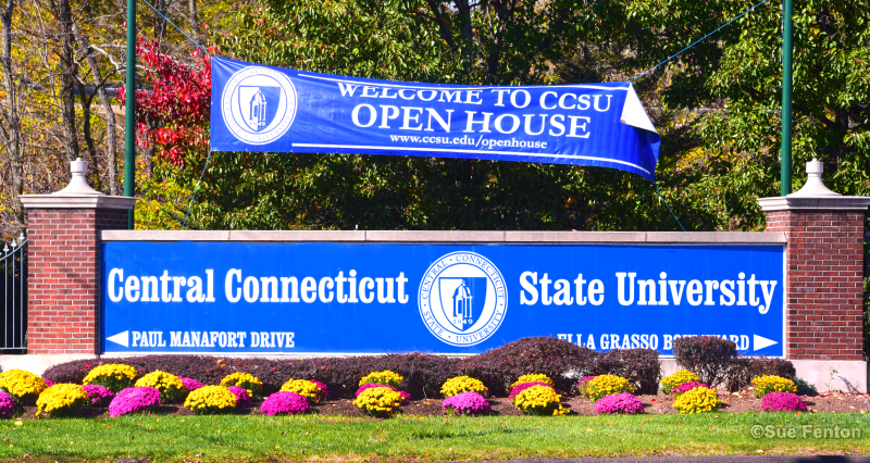 Sign for Central Connecticut State University campus