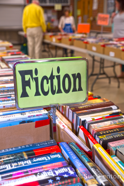 Spring book sale event at public library