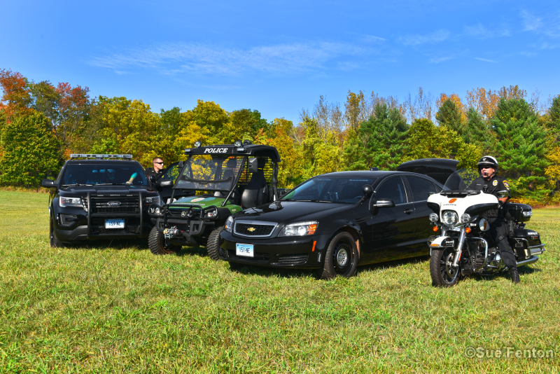 Staged presentation of four fleet vehicles used by Newington Police Department