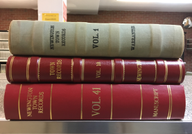 Stack of Town Clerk Records book from Newington