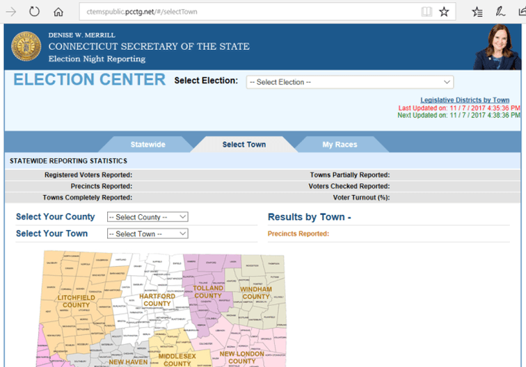 Secretary of State Election Results web page