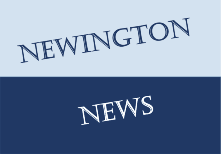 Blue and white sign saying Newington News diagonally