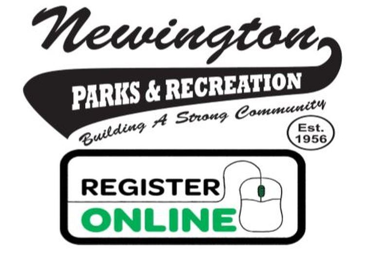 Newington Parks and Recreation swoosh-style logo along with a Register Online box
