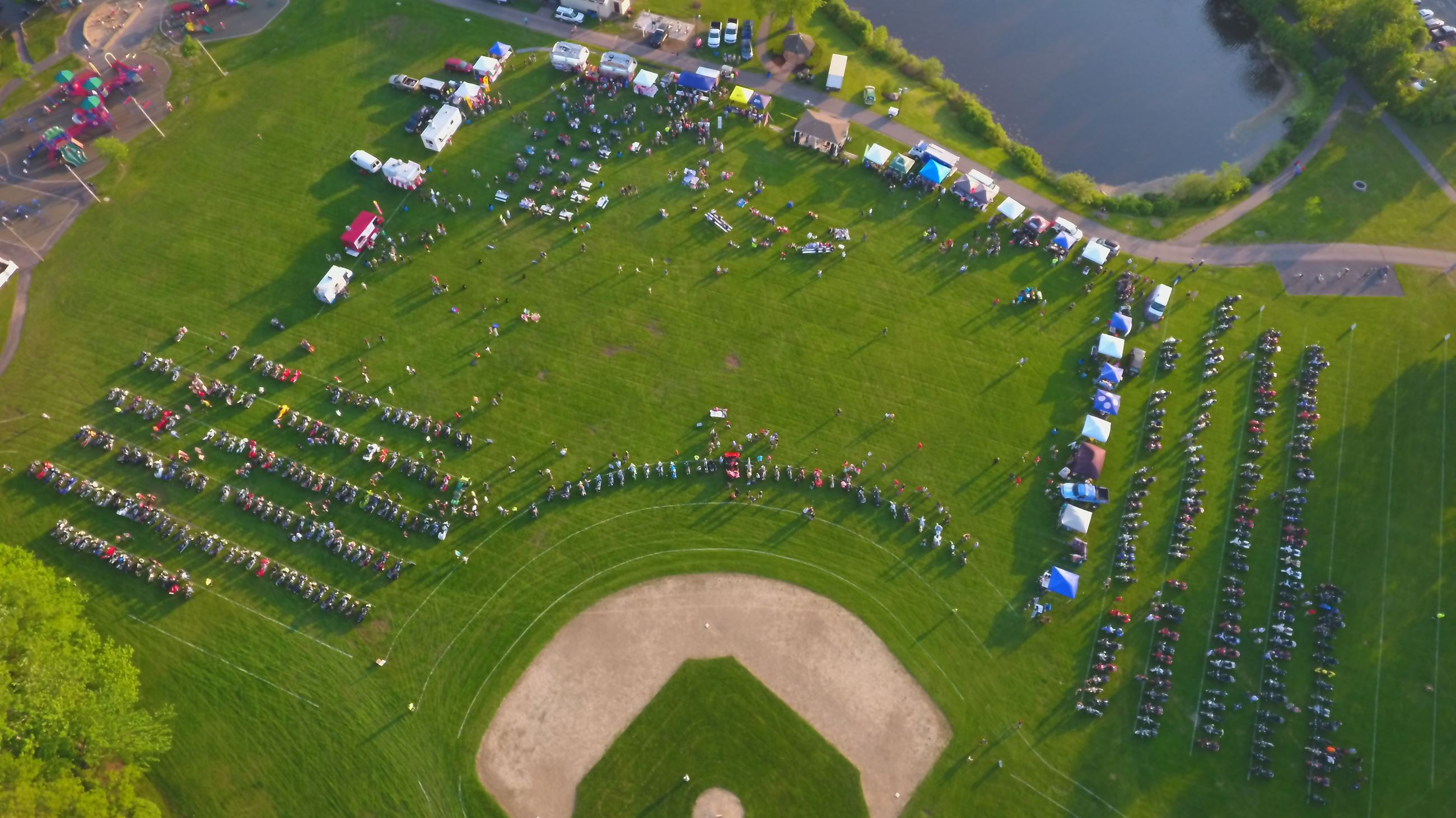 Aerial Photo of Motorcycle Madness, featuring the entire event; hundreds of motorcycles, vendors and
