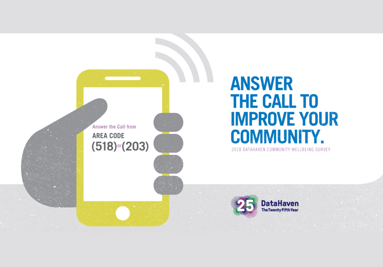 Gray hand holding a yellow cell phone: Answer the call for DataHaven Community Wellbeing Survey