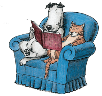 dog and cat reading on chair