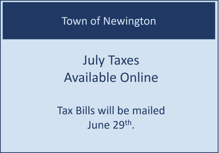 Blue and White Box saying taxes are available online