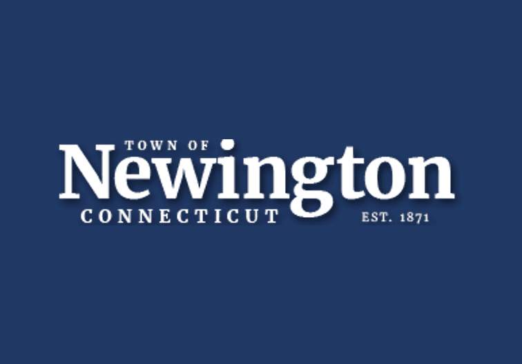 Navy blue background with town of newington logo