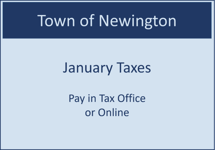 Blue rectangular sign stating Taxes are due.