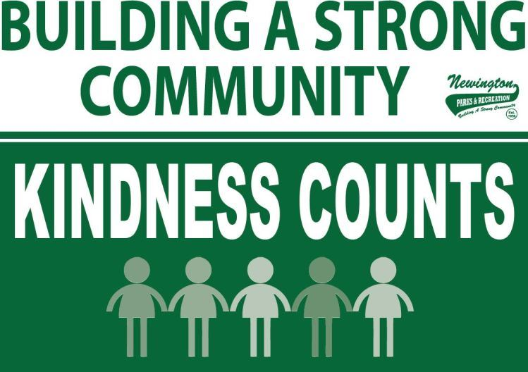 "Green background with text reading ""Kindness Counts"" and people below holding hands"