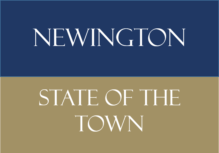 Blue and Gold Background Saying Newington State of the Town