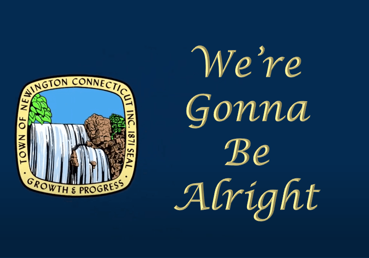Town Seal next to Text We're Gonna Be Alright on a dark blue background