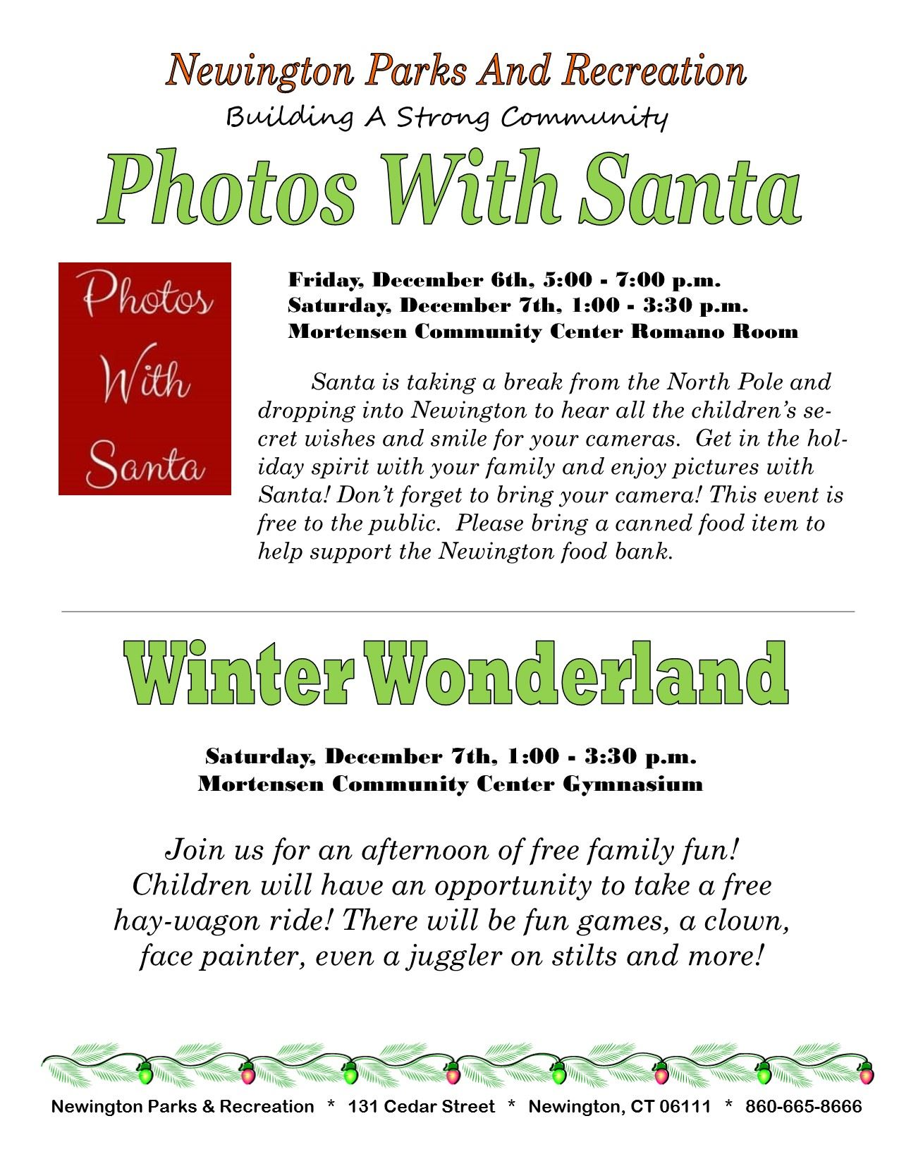 Photos w Santa Winter Wonderland Flyer
